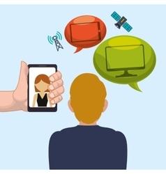Man smartphone woman bubble speech worlwide vector