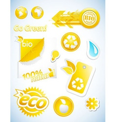 Set of yellow ecology icons vector image vector image