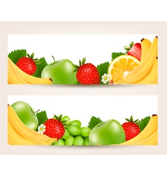 two banners with colorful fresh fruit vector image vector image