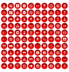 100 road signs icons set red vector