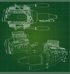 A big diesel engine with the truck depicted in the vector