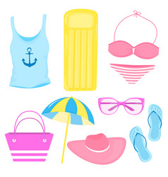 a set summer accessories for a beach holiday vector image