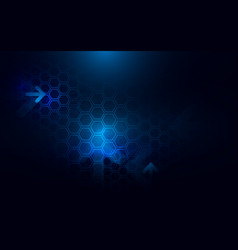 Abstract dark blue hexagons and arrows background vector