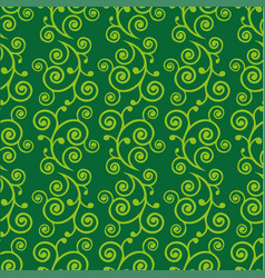 abstract green doodle curve seamless pattern vector image