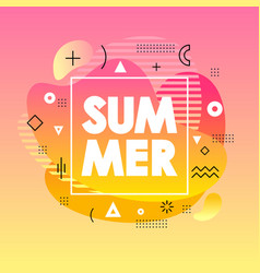 abstract summer card with pink gradient background vector image