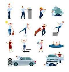 Accidents Injuries Dangers Decorative Icons Set vector