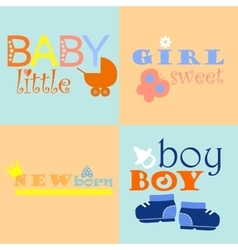 Baby logos and icons with inscriptions vector