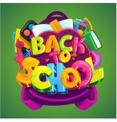 Back to school emblem on a green background vector