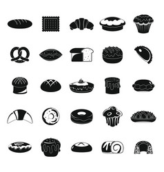 Bakery products black icons set vector