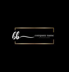 bb initial letter handwriting logo hand drawn vector image