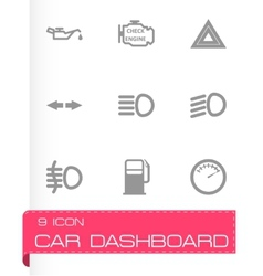 black car dashboard icon set vector image