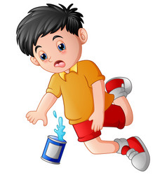 cartoon boy falling down with cans vector image