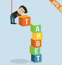 Cartoon Businessman stacking target box - - vector image