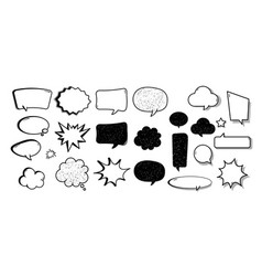 cartoon comic speech bubble set with chat cloud vector image