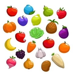 Cartoon fruits berries and vegetable icons vector