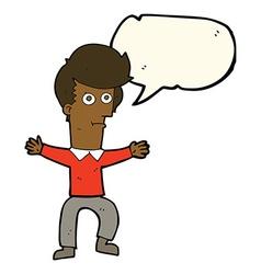 Cartoon startled man with speech bubble vector