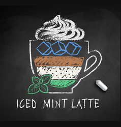Chalk sketch iced mint latte coffee vector