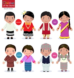 Children of the world Maldives India Bhutan Nepal vector image