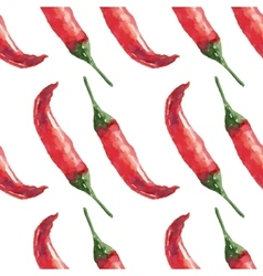 Chilli Hand drawn watercolor painting on white vector image