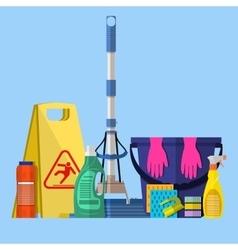 Cleaning set MOP sponge blue plastic bucket vector image