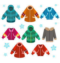 Colorful winter jackets set vector