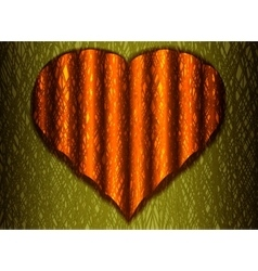 Corrugated web of red heart on a yellow background vector