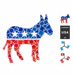 Democratic donkey mosaic icon tuberous pieces vector