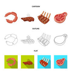 Design meat and ham logo collection of vector