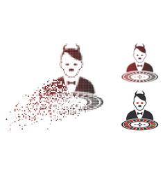 Destructed pixel halftone hitler devil roulette vector