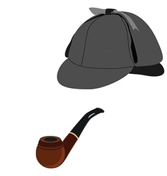 Detective hat and pipe vector