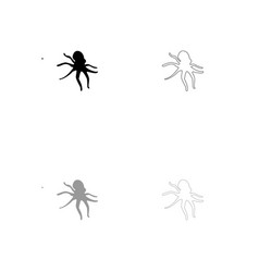 devilfish black and grey set icon vector image