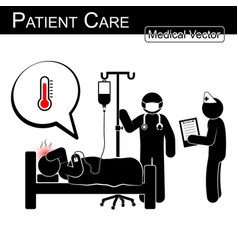 Doctor and nurse care patient in hospital vector
