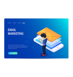 email marketing isometric concept receiving or vector image