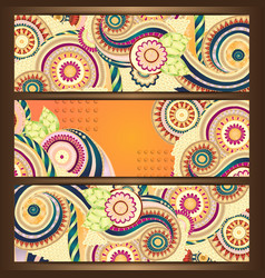 Ethnic Pattern Cards With Paisley Doodles vector image