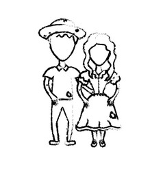 Figure cute brazilian couple with hat and typical vector