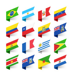 Flags of the world south america vector