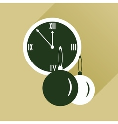 Flat icon with long shadow clock and Christmas vector