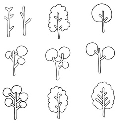 Flat of tree set doodles vector