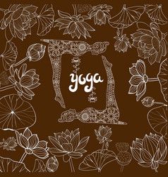 floral frame lotuses flowers and llustration vector image