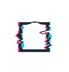 Glitch distortion frame square vector