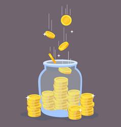 gold coins in glass jar transparent bottle vector image