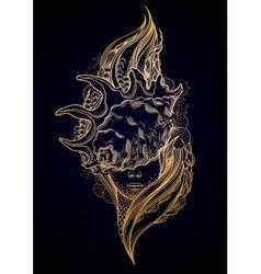 Graphic mermaid head vector image