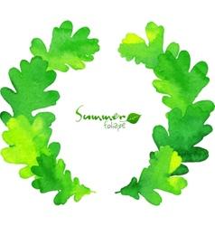 Green watercolor oak leaves wreath vector image