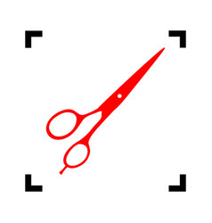 hair cutting scissors sign red icon vector image