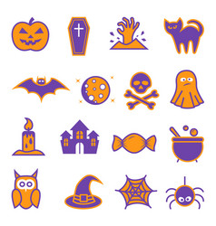 halloween icon set on white background vector image
