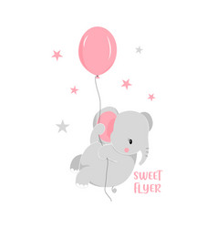 Hand drawing sweet elephant vector