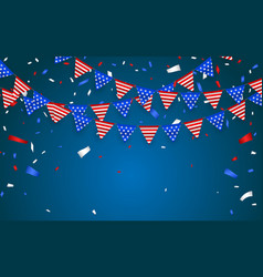 Hanging bunting flags for american holidays blue vector