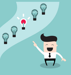happy businessman choosing the bright idea vector image