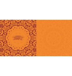 Henna orange antique banner template Mehndi vector image