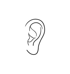 Human ear hand drawn outline doodle icon vector